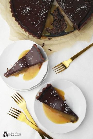 Rezept Schokoladen-Tarte mit Salzkaramellkern