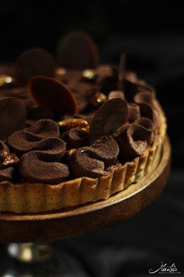 Rezept Schokoladen-Vanilletarte mit karamellisierten Pecannüssen