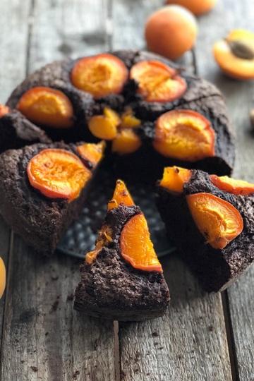 Rezept Schokoladenkuchen mit Aprikosen / ohne Butter & Öl