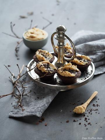 Rezept Schokoladenmuffins mit gesalzener Karamell-Creme