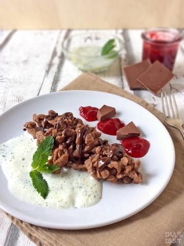 Rezept Schokoladenspätzle mit Minzsoße und Himbeerkompott