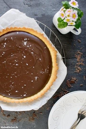 Rezept Schokoladentarte mit Creme Fraiche & Meersalz