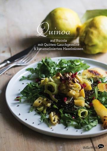 Rezept Schwarzer Quinoa auf Rucola mit Quitten-Lauch-Gemüse