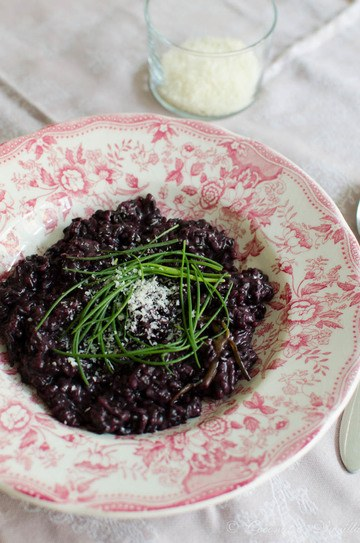 Rezept schwarzes Risotto mit Mönchsbart