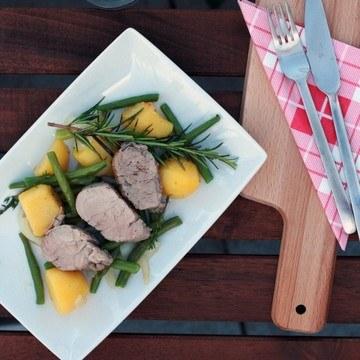 Rezept Schweinefilet auf Kartoffel-Bohnen-Pfanne