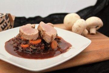 Rezept Schweinefilet mit Quinotto an Rotweinschokosoße