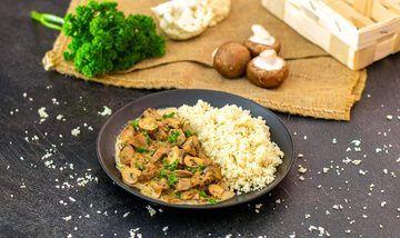 Rezept Schweinegeschnetzeltes mit Blumenkohl-Reis