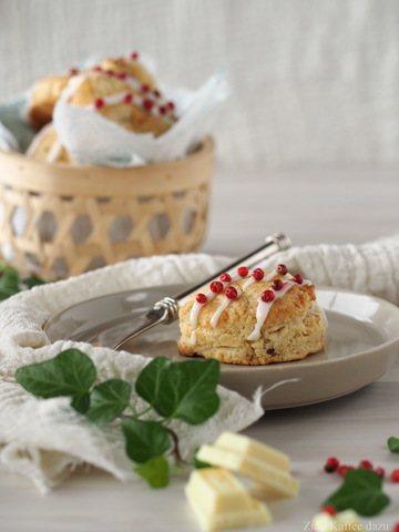 Rezept Scones mit weißer Schokolade und rosa Pfeffer