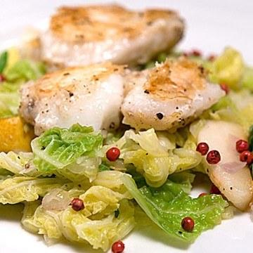 Rezept Seeteufelbäckchen mit Birnen-Wirsing-Gemüse
