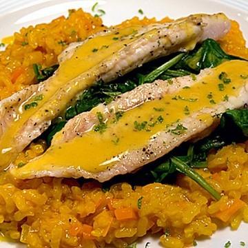 Rezept Seezunge mit Karottenrisotto, Spinat und Ingwersauce
