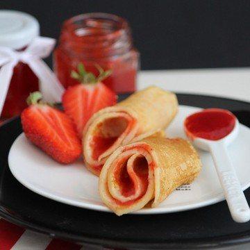 Rezept Selbstgemachte Erdbeermarmelade mit Pfannkuchen