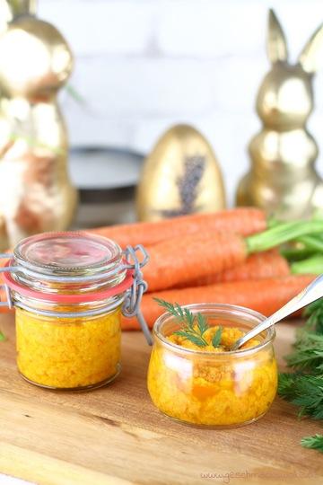 Rezept Selbstgemachtes Karotten-Pesto mit Honig & Haselnüssen