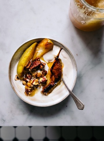 Rezept Selbstgerechtes Joghurt mit Karamell Birnen