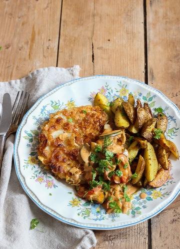 Rezept Sellerieschnitzel mit veganer Bratensoße und Kartoffelecken