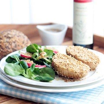 Rezept Sesam-Fächerkartoffeln & Feldsalat mit Sesam-Ingwer-Vinaigrette