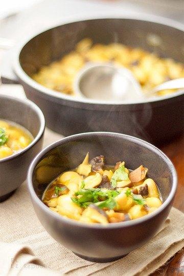Rezept Shiitake Suppe mit Weißen Bohnen und Safran