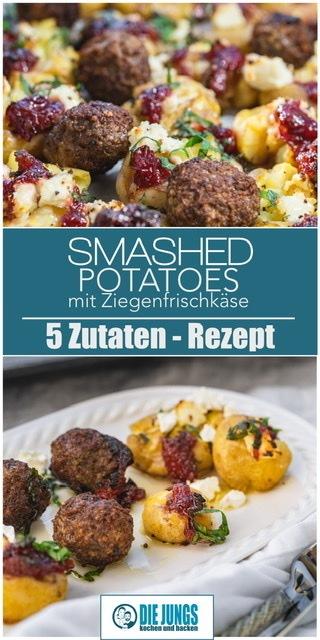Rezept Smashed Potatoes mit Ziegenkäse
