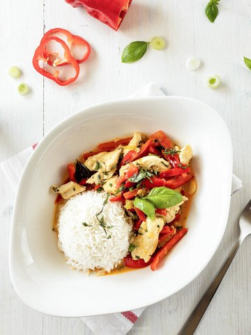 Rezept Sommerlich leichtes Hühnercurry mit Paprika
