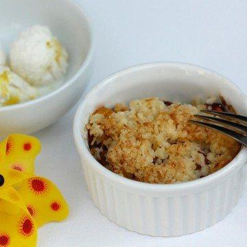 Rezept Sommerliche Pfirsich-Kokos-Crumbles