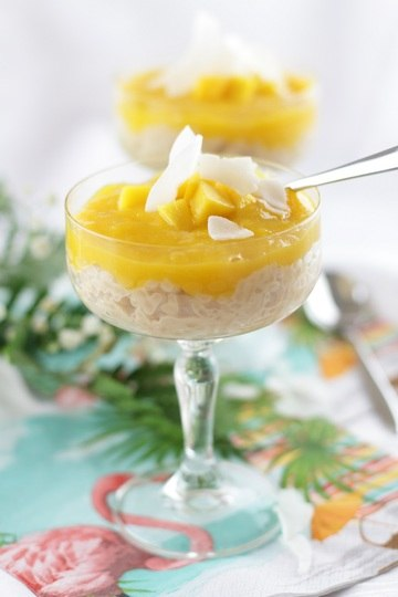 Rezept Sommerlicher Kokosmilchreis mit fruchtigem Mangotopping