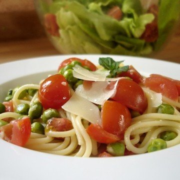 Rezept Spagetti mit Limette, Minze und Erbsen