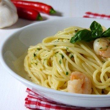 Rezept Spaghetti aglio e olio con scampi