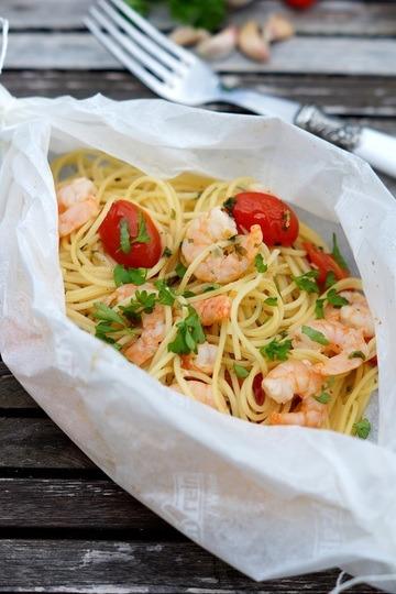 Rezept Spaghetti mit Garnelen al cartoccio