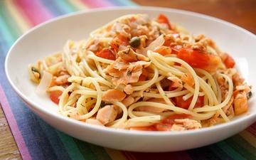Rezept Spaghetti mit geräuchertem Lachs und Kapern