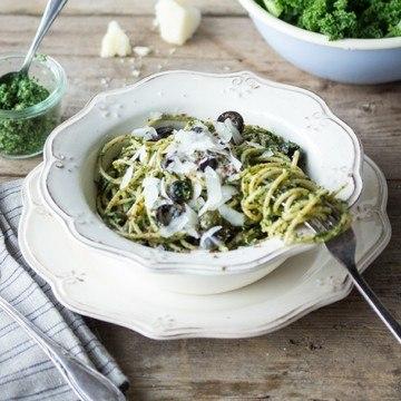Rezept Spaghetti mit Grünkohl-Pesto
