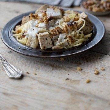 Rezept Spaghetti mit Halloumi, Pilzen und Walnüssen