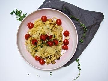 Rezept Spaghetti mit Kräterseitlingen und geschmorten Tomaten
