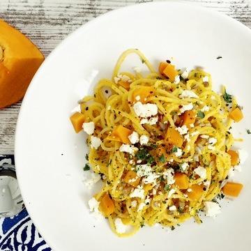 Rezept Spaghetti mit Kürbis Feta Pesto