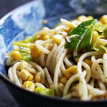 Rezept Spaghetti mit Mais & Lauch