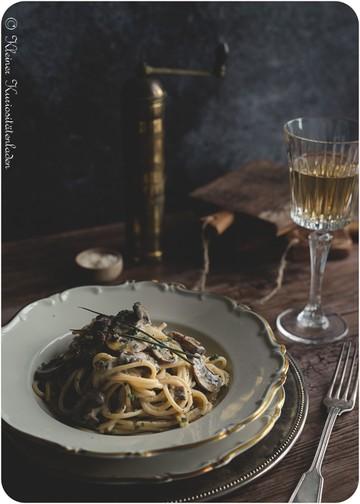 Rezept Spaghetti mit Pilzrahmsauce