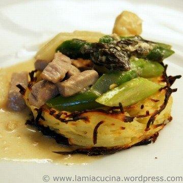 Rezept Spargel-Kalbs-Ragout im Kartoffelnest