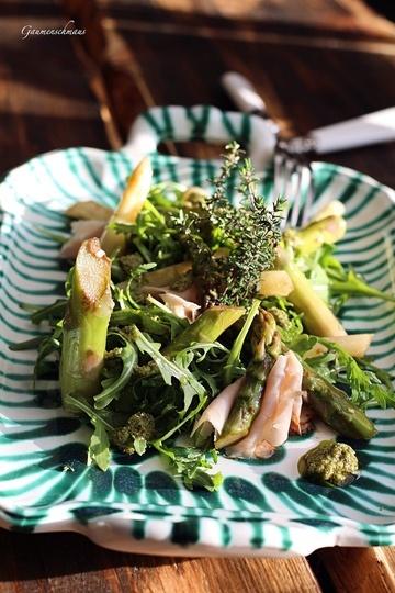 Rezept Spargelsalat mit Rucola-Schinken und Pesto