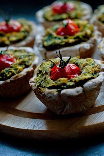 Rezept Spinat-Bohnen-Quiches im Miniaturformat