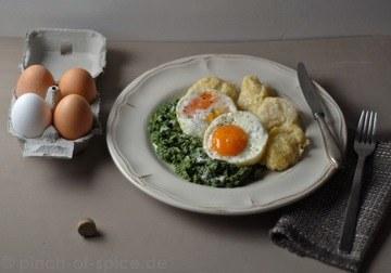 Rezept Spinat, Nockerle und Spiegelei