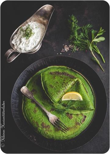 Rezept Spinatpfannkuchen mit Kräuterquark