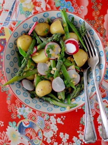 Rezept Spring Salad mit grünem Spargel, Kartoffeln und Linsen