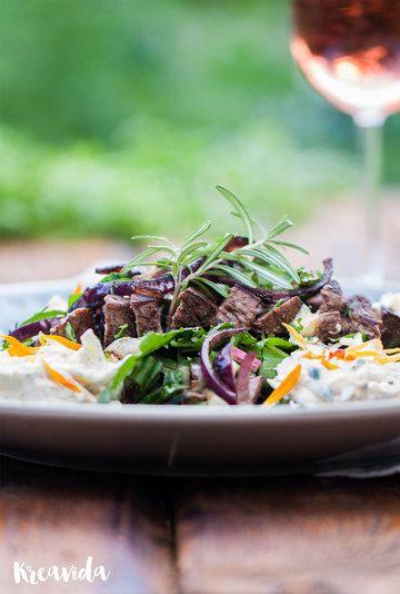 Rezept Steak an mangoldsalat mit Möhrenquark