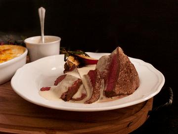 Rezept Steak mit Sauce Bernaise & Eachtling-Kürbis-Gratin