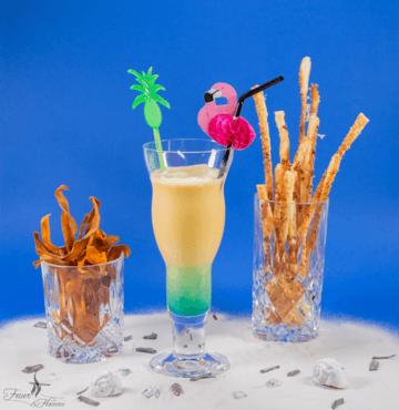 Rezept Strandcocktail mit Süsskartoffelchips und Blätterteigstangen