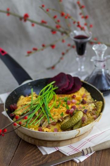 Rezept Südtiroler Bauernfrühstück mit Speck und Bergkäse