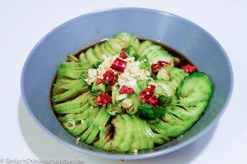 Rezept 蓑衣黄瓜(suōyī huángguā) - chinesischer Gurkensalat wie Stroh-Regenjacke