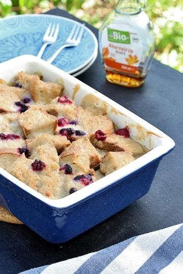 Rezept Süsser Brotauflauf mit Früchten.