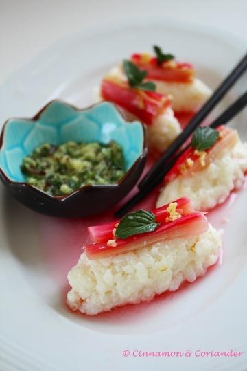 Rezept Süßes Kokos Rhabarber Sushi