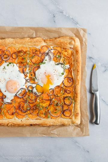 Rezept Süßkartoffel-Blätterteig-Galette mit Ei