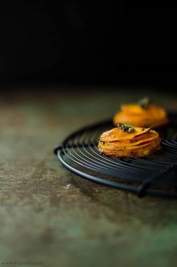 Rezept Süßkartoffel-Cheddar-Türmchen mit Trüffel