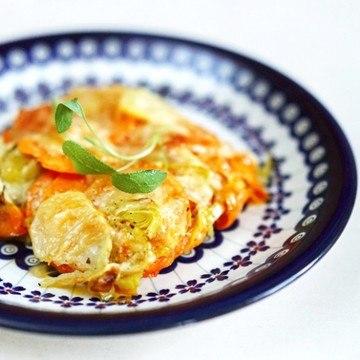Rezept Süßkartoffel-Lauch-Gratin mit Salbei